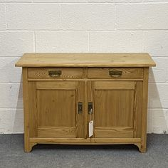 Small Antique Pine Cupboard - 2 Drawers Over 2 Doors (F9706A)