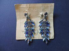 Blue Chanelier Gustave Sherman Screw Back Vintage Sherman Vintage Costume Jewelry, Vintage Costumes, Blue Chandelier, Gifts For Him, Vintage Items, Swarovski, Women Wear, Unisex, Drop Earrings