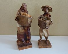 Vintage Pair of Mexican Folk Art Papier Mache Figurines - Ethnic, Peasants Sculptures - Travel Souvenir Travel Souvenirs, Mexican Folk Art, Bookends, Sculptures, Handmade Gifts, Ethnic, People, Etsy, Image