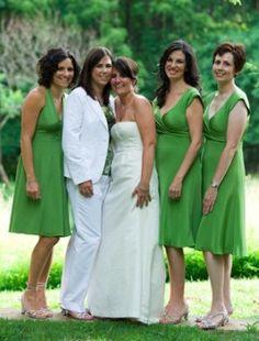 Lesbian bride and bridesmaid