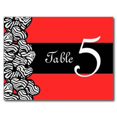 Zebra hearts Wedding Table Number Postcard