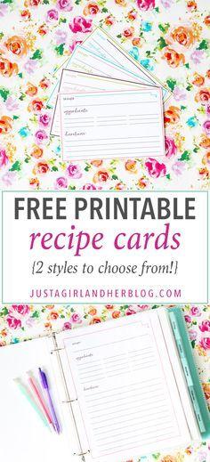 Pantry Recipe Organization  Printable Recipe Cards Pantry And Of