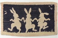 Lot: Folk Art Hooked Rug with Three Rabbits, Lot Number: 0360, Starting Bid: $50, Auctioneer: Schwenke Auctioneers , Auction: Annual Spring Fine Estates Auction, Date: June 14th, 2015 EDT