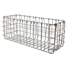 "The Threshold tank top wire basket in antique pewter finish with copper handles is a sturdy and versatile basket for any room in the house. Organize soap and shampoo bottles, hand towels or health and beauty products.  <br><br>16"" X 6"" X 6-1/2""H <br>Made of Metal Wire <br>Wipe Clean with a Damp Cloth"