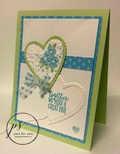 Stitched Be Mine framelits used on card with Stampin' Up! Valentine Heart, Valentines, Valentine Cards, Turquoise Flowers, Heart Cards, Stamping Up, Stampin Up Cards, Your Cards, Wedding Anniversary