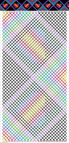 Friendship bracelet - pattern 85434 - 40 strings 11 colours - hearts