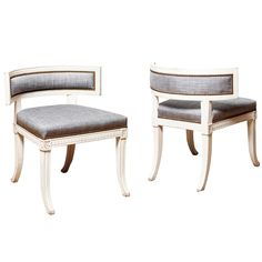 """Late Gustavian """"Sulla"""" Type Klismos Chairs in Carved and Painted Wood 