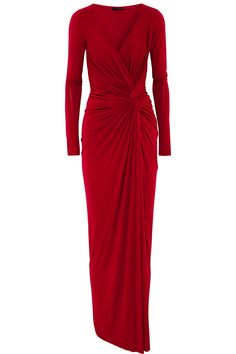 Donna Karan New York – Twist-front draped stretch-jersey gown Long Red Evening Dress, Red Evening Gowns, Red Ball Gowns, Red Gowns, Donna Karan, Drape Gowns, Draped Dress, Joan Collins, Low V Neck Dress