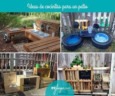 ideas de para hacer cocinitas en un patio Kids Outdoor Play, Outdoor Learning, Natural Playground, Outdoor Playground, Daycare Spaces, Outdoor Classroom, Play Spaces, Outdoor Furniture Sets, Outdoor Decor