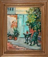 The Blue Door, French Quarter Courtyard by Alberta Kinsey