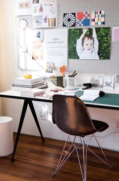 Home office ideas/home office inspiration/home office design/home office decor - desk, chair, inspiration wall