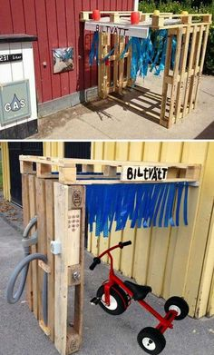 Woohome saved to Easy DIY ProjectsGas station with car wash. - 21 No Money Backyard Pallet DIYs for Kids Summer Fun #homedecor #palletfurniture #pallets #pallet