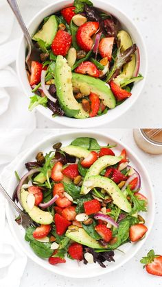 Amazing Food Videos, Paleo Meal Prep, Spinach Salad Recipes, Spinach Strawberry Salad, Spring Salad, Dinner Salads, Vegan Foods, Paleo Recipes, Cochella Outfits