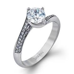 SIMON G Twist 18K - White Gold Diamond Engagement Ring MR2058