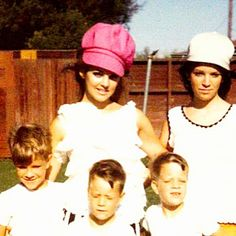 Priscilla Presley in pink hat with sister Michelle, & brothers Don, Tim & Tom early 60s.