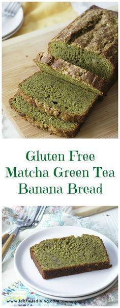 Gluten Free Matcha Green Tea Banana Bread  found at: http://www.fearlessdining.com
