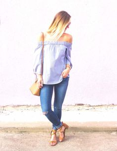 Fashion blogger style outfit off the shoulder dress shirt