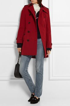 Part of the Burberry Heritage collection Red cotton-gabardine Button fastenings through double-breasted front 100% cotton; trim: 100% leather (Calf); buttons: 100% horn (Buffalo); body lining: 100% cotton; sleeve lining: 100% viscose Dry clean Designer color: Parade Red