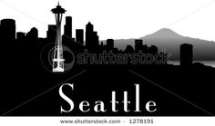 vector silhouette graphic depicting the Seattle skyline (black and white) by Robert F. Balazik, via ShutterStock Seattle Skyline, Outline, Royalty Free Stock Photos, Silhouette, Black And White, Tattoo Inspiration, Places, Tattoo Ideas, Parents