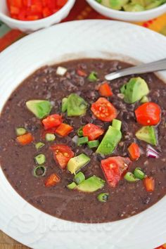Pressure Cooker Cuban Black Bean Soup Recipe ~ top with fresh avocado, tomatoes and scallions for a delicious meal http://jeanetteshealthyliving.com
