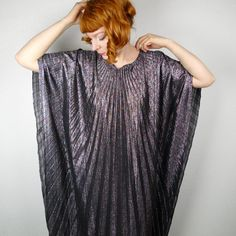 vintage METALLIC pleated cape maxi dress KAFTAN silver glam DISCO winged festival glitter psychedelic rock One Size 70s Glam Rock, Posh Clothing, Fritz Lang, Queen Costume, Glam Dresses, Studio 54, Festival Fashion, Dress To Impress, Plus Size Fashion