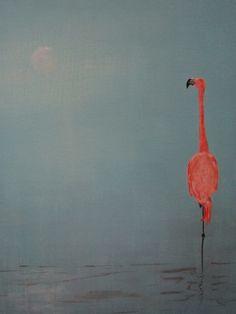 acrylic painting, flamingo
