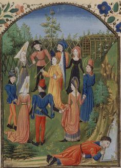 Carole  Roman de la rose  Guillaume de Lorris et jean Meun, Rouen ?, 3e quart du XVe s..  BNF, Manuscrits, français 19137, f. 68. The dance scene of the carole, which engage the allegories of courtesy around the God of Love, is emblematic of the enchanting atmosphere created by Guillaume de Lorris. Sweet Looking seen here armed with an arrow. The narrator, a little apart, leans on the waters of the fountain of Narcissus. Thanks to @Dominique Dario for translation