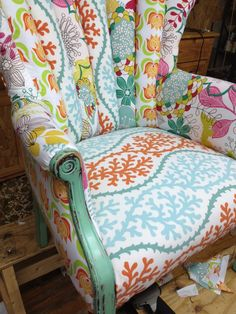 upholstered chair, I Love this! We have a family heirloom and this would be perfect for it! I'm not really sure I could paint it though! Funky Furniture, Upholstered Furniture, Upcycled Furniture, Painted Furniture, Royal Furniture, Chair Upholstery, Chair Redo, Love Chair, Chair Makeover