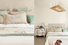 Diez formas de decorar tu cama  Romático y femenino, el look de este espacio se logró a partir de almohadones verde agua y natural de diferentes tamaños Foto:Archivo LIVING