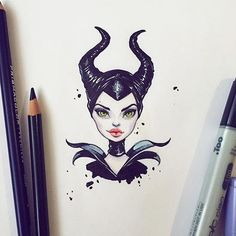 Wonderful Photographs drawing disney maleficent Popular Lots of people start drawing because they're attracted by the design of a common characters—and Disney Drawings, Cartoon Drawings, Cute Drawings, Drawing Disney, Disney Kunst, Disney Art, Maleficent Drawing, Malificent Tattoo, Portrait Cartoon