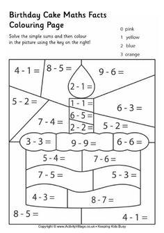 Birthday cake maths facts colouring page Math facts, Math, Math work Kindergarten Math Worksheets, School Worksheets, Teaching Math, Math Activities, Math For Kids, Fun Math, Birthday Coloring Pages, Homeschool Math, Math Facts