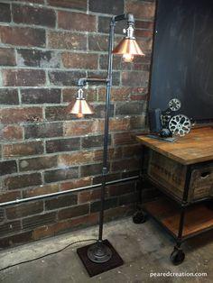 Industrial Floor Lamp Copper Shade Edison por newwineoldbottles