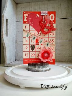 Vintage Valentine decor using ephemera www.diybeautify.com