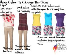 Using color to change the focus: A brighter or lighter blouse can pull focus off your hips. Decide where you want attention to be drawn to. (If you wear pattern on your bottom half, and want to slim your hips then wear a lighter or bright colour on your top half to draw attention up to your face.) #pear