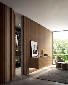 Interior Design Minimalist, Home Interior Design, Interior Architecture, Contemporary Architecture, New Wall, Wood Cladding, Secret Rooms, Interior Walls, Door Design