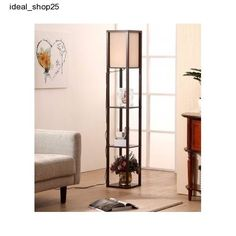 Tall Floor Lamp Shelf Modern Lighting Shade Wood Decor Storage living Room Brown #Brightech