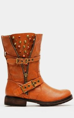 Adorable embellished tan rider side zip boots