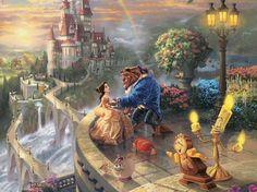 Thomas Kinkade Disney Princess: Beauty and the Beast - Oversized Jigsaw Puzzle by Ceaco (discon) Thomas Kinkade Disney, Thomas Kinkade Art, Disney Amor, Deco Disney, Disney Magic, Disney E Dreamworks, Disney Movies, Disney Pixar, Walt Disney