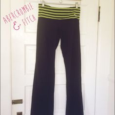 A&F yoga pants with fold over waistband Super cute & comfy for working out! Just not my style. Also just realized there are faint bleach stains on the back right :( see 3rd photo. Priced accordingly- otherwise in perfect pre-owned condition. Last photo is just to show how it looks on. Abercrombie & Fitch Pants