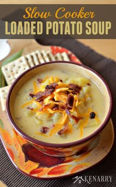 Slow Cooker Potato Soup is loaded with bacon, ham and cheese, great recipe for…