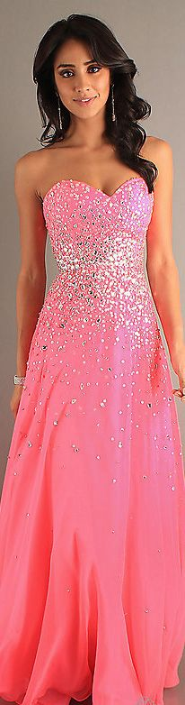 Fashion long dress #strapless #neon #pink #glitter