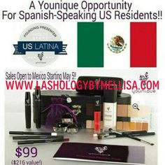 With Younique launching in Mexico, there are huge opportunities available for US latinas!!!! Do you love makeup, speak spanish, and have connections in Mexico?! If you're saying yes, yes, YES, then we need to chat!! If you want to own your own makeup business, and make some extra $$$, visit www.lashologybymellisa.com