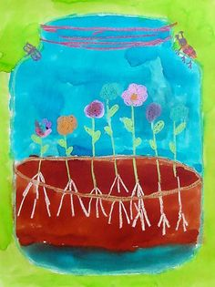 This is one of my favorite spring painting projects. I save it every year for kinders, and their introduction to learning about plants. 1. Each student starts with a letter-size jar template cut from chipboard. They trace it in pencil on a 9″ x 12″ sheet of watercolor paper, then added a lid line and ground … Read More