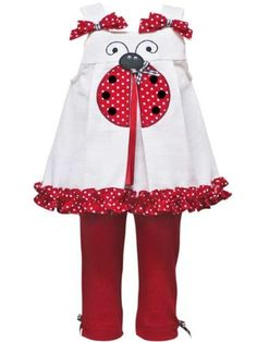 $31.99-$39.99 Baby Rare Editions Baby Girls Red Ladybug Legging Set-6-9 Months - This beautiful legging set from Rare Editions features a sleeveless white top with a red and white polka dot ladybug applique, pleated split front details, bow trim on the shoulders, and ruffle trim hem plus button back closure. Pull-on, red knit legging pants features gingham check bow trim and comfortable elastic  ...