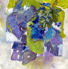 Original Watercolour Collage x on Arches 140 Lb. paper Embellished with gold metal leafing (Hover mouse for detail) Painted Leaves, Collage Artists, Leaf Art, Watercolour Painting, Decoration, Textile Art, Printmaking, Original Artwork, Washington State