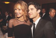 omg, its Jennifer Lawrence and Blaine (from glee) @millywilcox✌ ITS KATNISS AND BLAINE