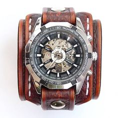 leon / Hnedý kožený remienok s hodinkami