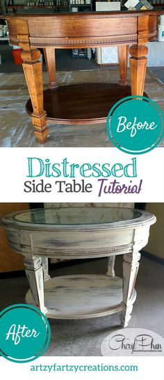 Look at this thrift side table transformation using Paint Du Coco chalk paint. T… Look at this thrift side table transformation using Paint Du Coco chalk paint. This free tutorial shows you step by. Coco Chalk Paint, Distressing Chalk Paint, Chalk Paint Projects, Chalk Painting, Painting Tips, Diy Projects, Repainting Furniture, Painted Furniture, Refinished Furniture