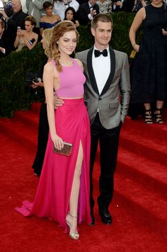 2014 #MetGala Fashion: Emma Stone in Thakoon and Andrew Garfield. (Also...THAT BRAID IS AMAZING!)