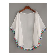 SheIn(sheinside) White Tassel Trimmed Chiffon Kimono ($13) ❤ liked on Polyvore featuring intimates, robes, white, white robe, white kimono, chiffon kimono, white chiffon kimono and chiffon robe